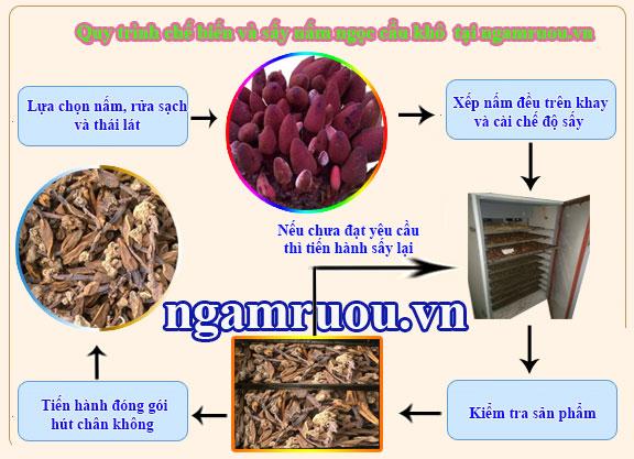 Quy trình sấy nấm ngọc cẩu khô