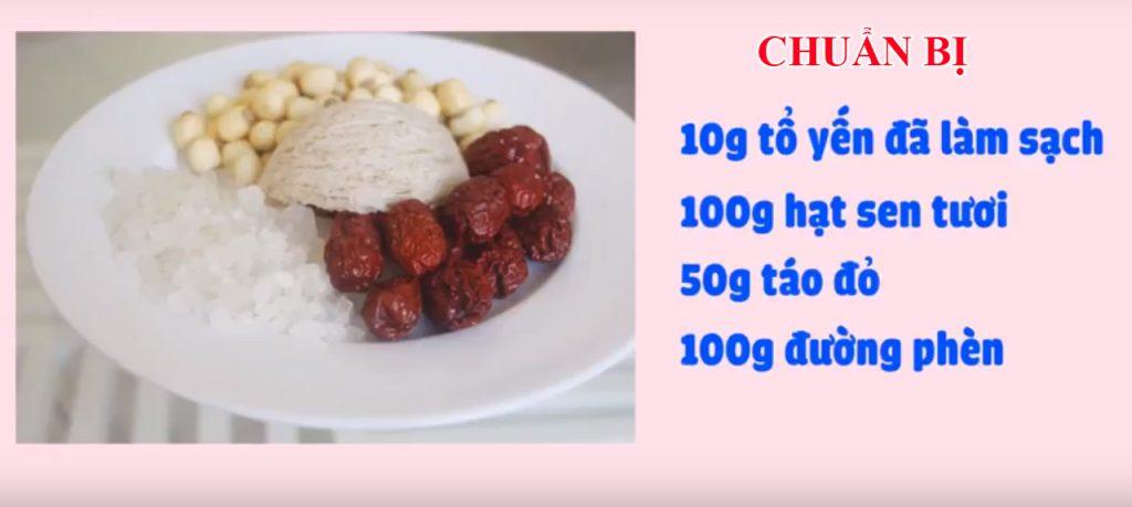 Nguyên liệu chuẩn bị cho món chè tổ yến hạt sen táo đỏ Tân Cương