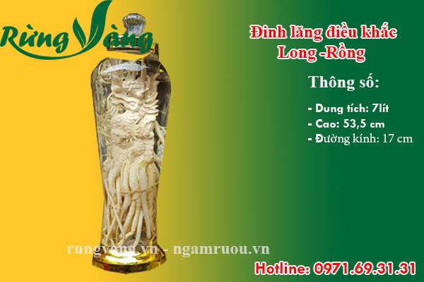 bình đinh lăng điêu khắc Thìn - Long - Rồng 7 lít
