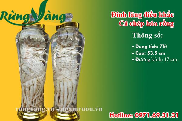 Bình đinh lăng điêu khắc cá chép hóa rồng 7 lít