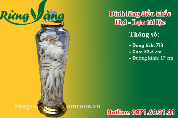 bình đinh lăng điêu khắc Hợi - Lợn - Heo 7 lít