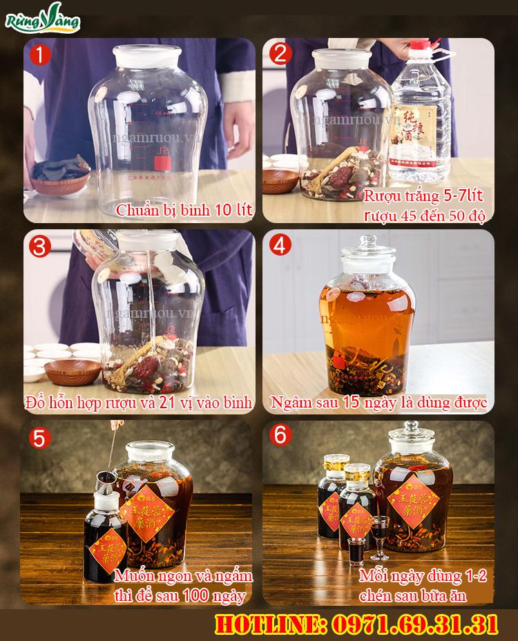 Cách ngâm rượu 21 thảo dược vị bổ dương